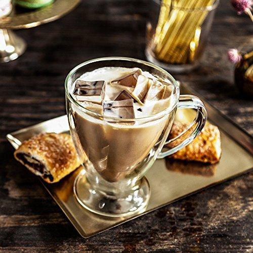 JoyJolt Declan Irish Glass Coffee Cups Double Wall Insulated Mugs Set of 2 Latte Glasses, 10-Ounces. by JoyJolt (Image #4)