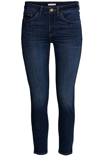 Oops Outlet Mujer Ex Zara Vaqueros de Pitillo Mujer Entallado Entallado Descolorido Elástico Pantalones - Vaqueros Lavado Oscuro, Medium (UK 10)