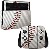 MightySkins Carbon Fiber Skin for Nintendo Switch - Baseball | Protective, Durable Textured Carbon Fiber Finish | Easy to Apply, Remove, and Change Styles | Made in The USA