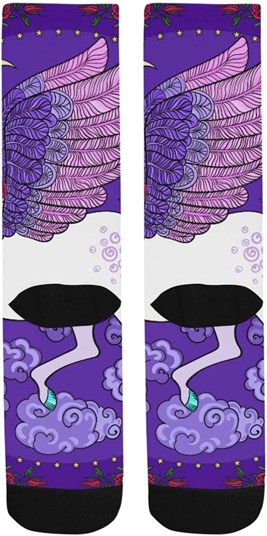 Hand Drawn Rainbow Unicorn Crazy Dress trouser Sock For Men Women Kids Outdoor