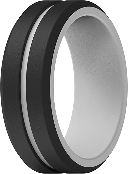 Breathable with Air Flow Grooves 2.5mm Thick ThunderFit Silicone Wedding Ring for Men 10mm Wide