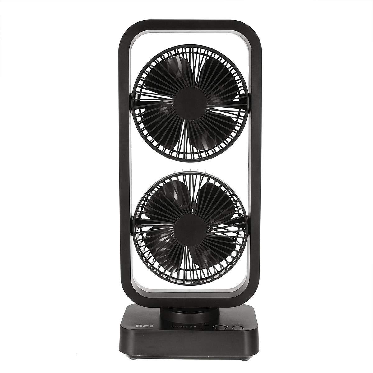 F.S.M. Mini Portable USB Cooling Air Fan Double Tower Fan 10000mAh Rechargeable Home Desk Fan - Black + Blue by F.S.M.