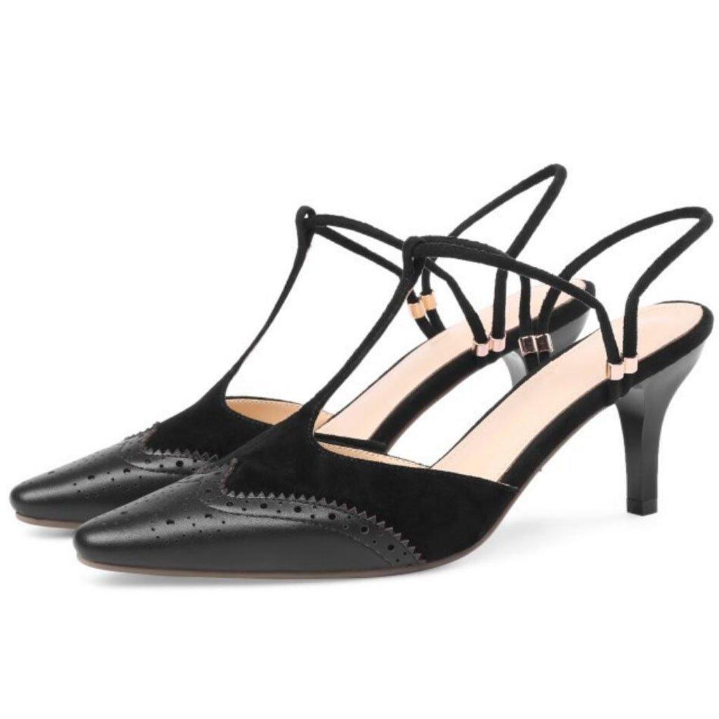 GAOLIXIA Frauen Leder Spitz High Heels Sommer Retro Geschnitzte Sandalen Mueller Schuhe Mode T-mouth Guuml;rtel Hausschuhe  39|Schwarz