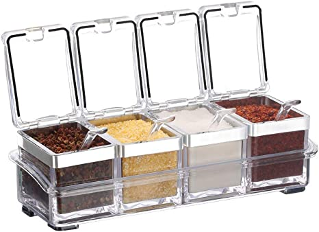 Condiment Acrlic Seasoning Spice Box Jar with spoons Container