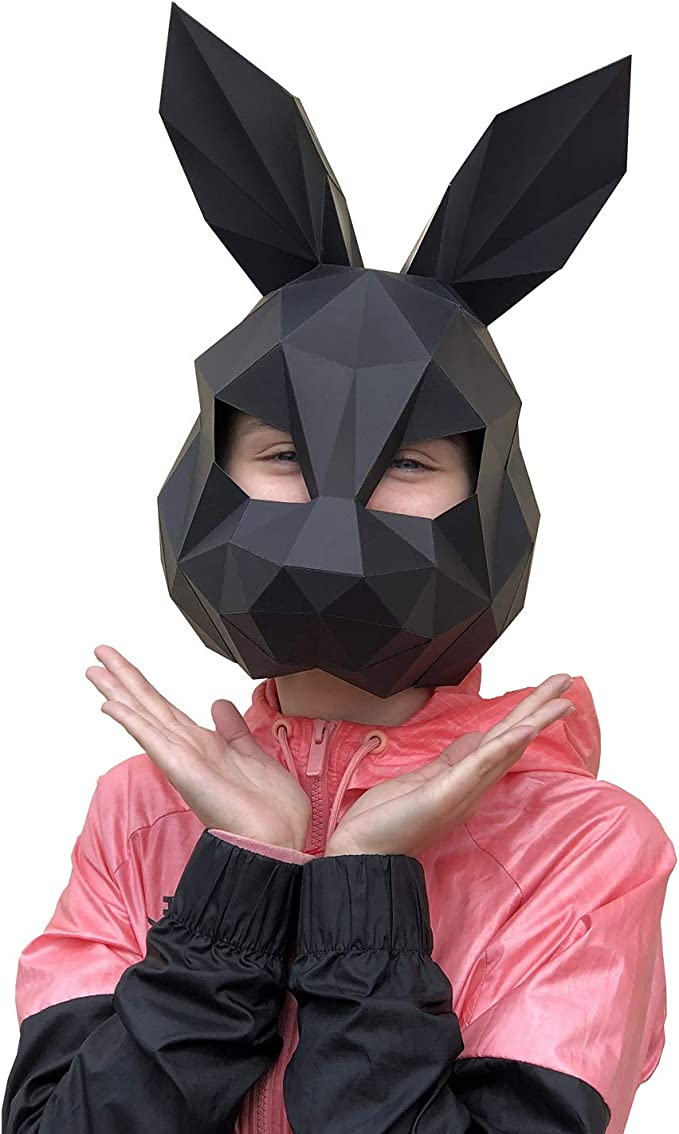 Amazon.com: Paperraz DIY 3D Rabbit Black Mask Animal Low Poly PaperCraft Building Kit - NO Scissors Needed: Clothing