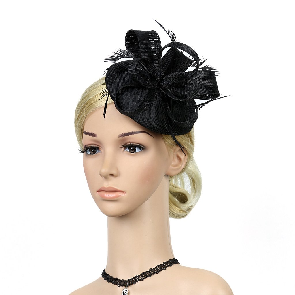 MEiySH Vintage Cocktail Feather Mesh Net Fascinator Feather Pillbox Hat with Veil Hair Clip Party Wedding (Black Style B)