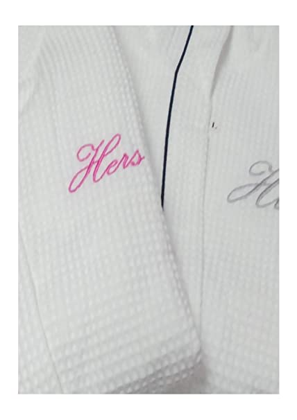 HIS AND HERS PERSONALISED 100% COTTON WAFFLE SHAWL COLLAR BATHROBE SET  WHITE WITH BLACK PINK PIPING  Amazon.co.uk  Kitchen   Home 375b3b1b4