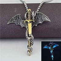 suwanpoomshop Glow In The Dark Dragon Sword Pendants Luminous Necklace Punk Men Women Jewelry