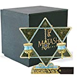 Matashi Shabbat Candlesticks Hand-Painted, Gold-Plated Pewter | Tall, Vintage Craftsmanship | Personal or Religious Use (Blue Star of David)