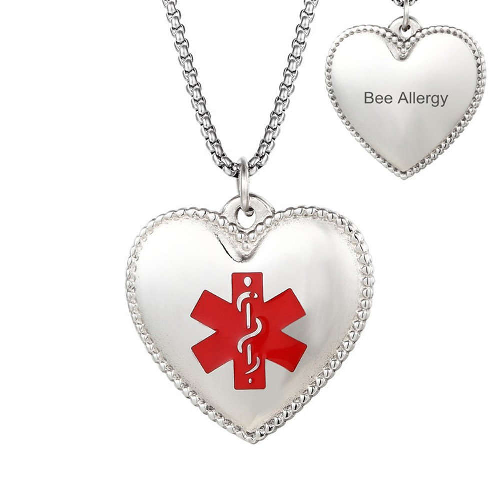 Comfybuy CF Free Engraving Stainless Steel Medical Alert Allergy Awareness Identification Necklace Blank Nameplate Hearted Pendant,Emergency SOS Life Saver for Kids,Son,Daughter,Girlfriend,Grandma