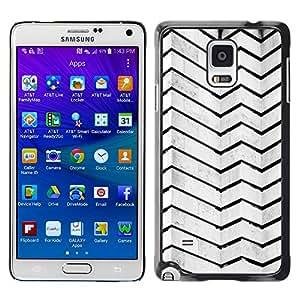 X-ray Impreso colorido protector duro espalda Funda piel de Shell para Samsung Galaxy Note 4 IV / SM-N910F / SM-N910K / SM-N910C / SM-N910W8 / SM-N910U / SM-N910G - Architecture Lines Stripes Wall Black White