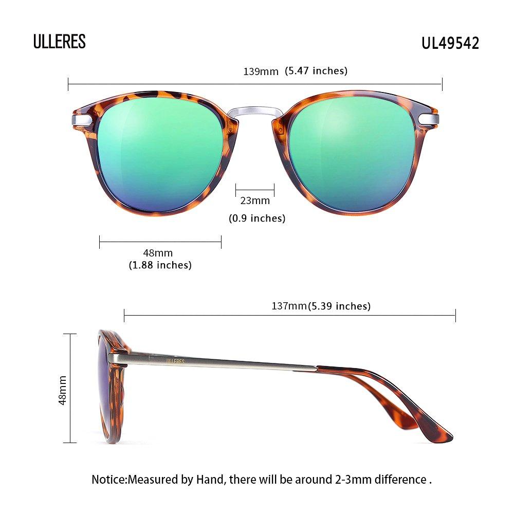 a704682de382f ULLERES Retro Fashion Wayfarer Polarized Sunglasses for Men Women UV  Protection (Leopard Wayfarer Sunglasses