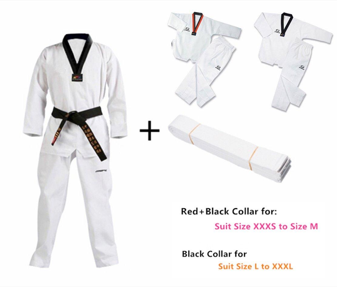 B.E.S.T JINGPAI Taekwondo/Karate Suits TKD Uniforms Taekwondo Trainning Uniform Karate Kung fu Suits (Size Chart in Last Photo) (M, Uniform+White Belt) by B.E.S.T