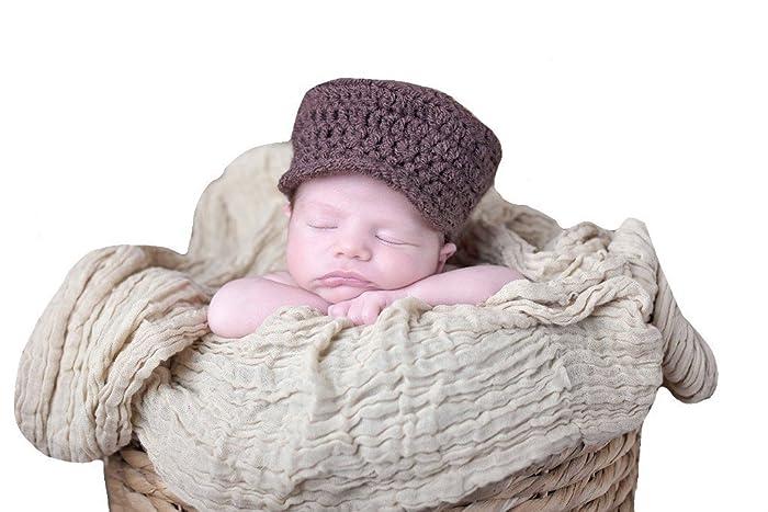 Amazon.com  Newborn Baby Boys Brown Crochet Flat Cap Photo Prop Hat   Handmade 01387c6aac0