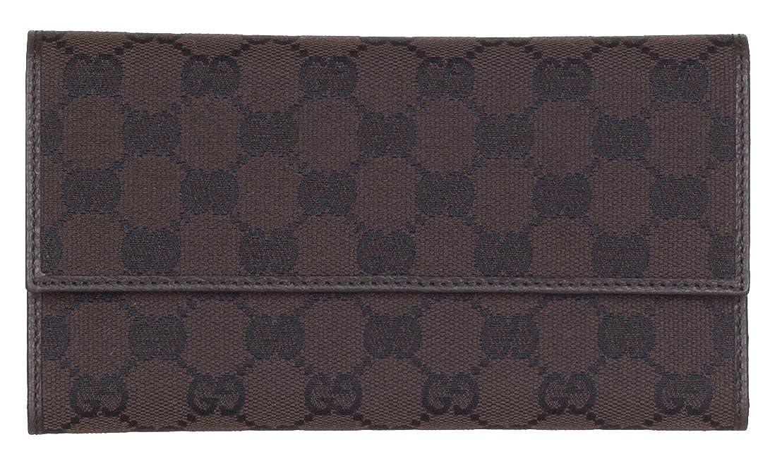 fa867f664b5 Gucci Women s 257303 Brown Nylon GG Guccissima Snap Closure Wallet W Coin  Pocket at Amazon Women s Clothing store