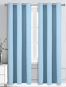 WPM Blackout Curtain Room Darkening 2 Panels/Drapes for Living Room, Sky Baby Blue Thermal Insulated Grommet Bedroom Window Draperies (Lite Blue, 42