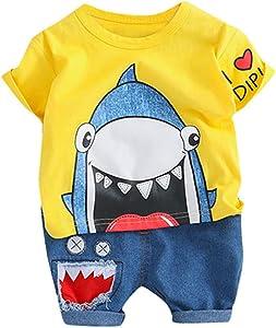 Clothful_Clothes Toddler Baby Kids Boys Cartoon Shark Tops Short Pants Casual Outfits Set