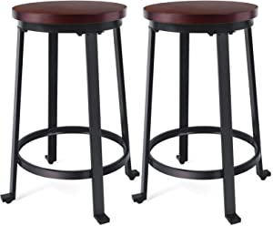 "KOTPOP Bar Stools Chair, Ultra Sturdy 24"" Counter Height Bar Stools with Steel Frame, Easy Assembly Backless Bar Stool, Kitchen Stools for Dining, Industrial Design, Set of 2"