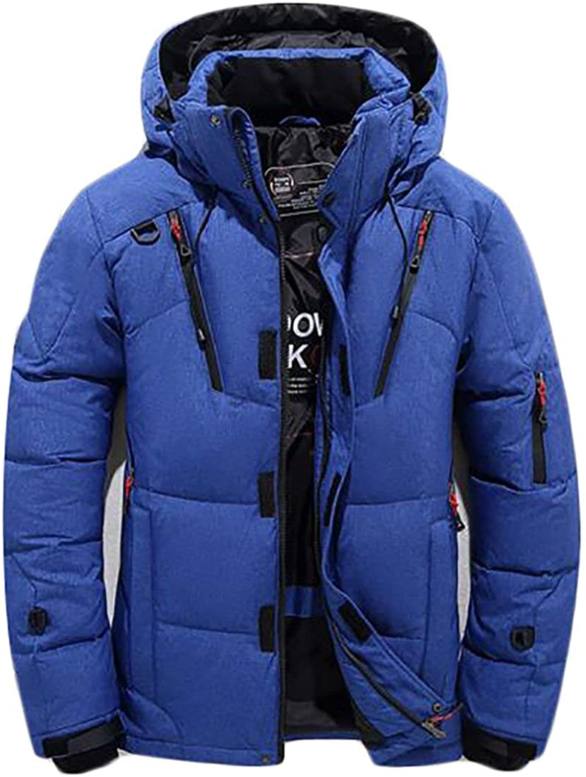 Joe Wenko JWK Mens Active Waterproof Hooded Thicken Loose Overcoat Down Parka Blue Large