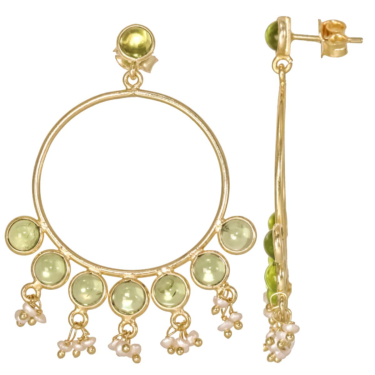 Screw Back Peridot Quartz 18k Gold Plated 925 Sterling Silver Stud Earrings