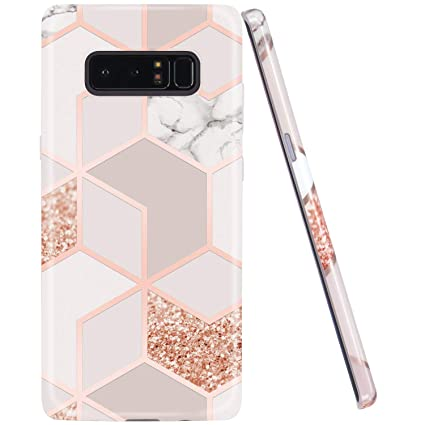 JAHOLAN Galaxy Note 8 Case Bling Glitter Sparkle Rose Gold Marble Design Slim Flexible Bumper Glossy TPU Soft Rubber Silicone Cover Phone Case for ...