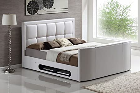 Azure White TV Bed with Free Mattress & 32\