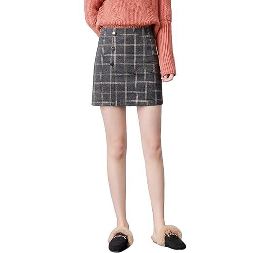 TSINYG Falda a cuadros elegante de cintura alta de cuadros ...