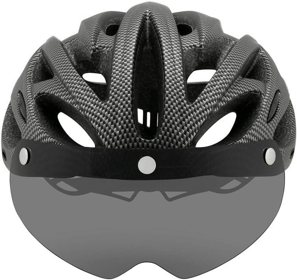 Ultraligero Camino de la monta/ña MTB Cascos con Visera extra/íble Gafas de Bicicletas Luz Trasera Intergrally-Moldeado,White 1 YWZQ Casco de Ciclista