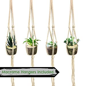 Artificial Succulent Plants with Pots and Macrame Rope Hangers | Set of 4 Decorative Faux Plants For Home Or Office