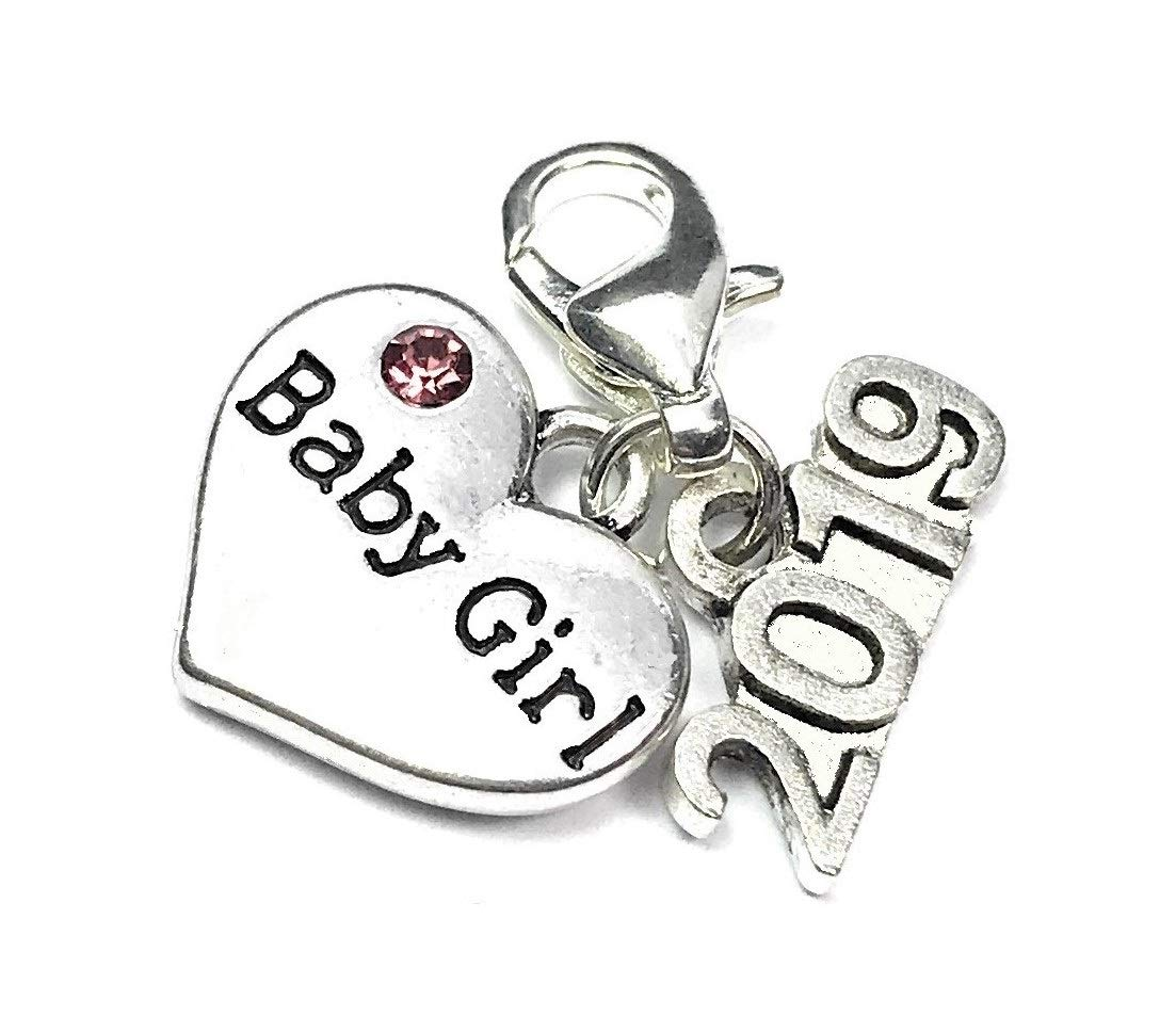 Handmade Libbys Market Place Babys First Christmas 2018 sign charm with Pink Crystal comes with 3 Different Gift Options and a Gift Card Gift Box
