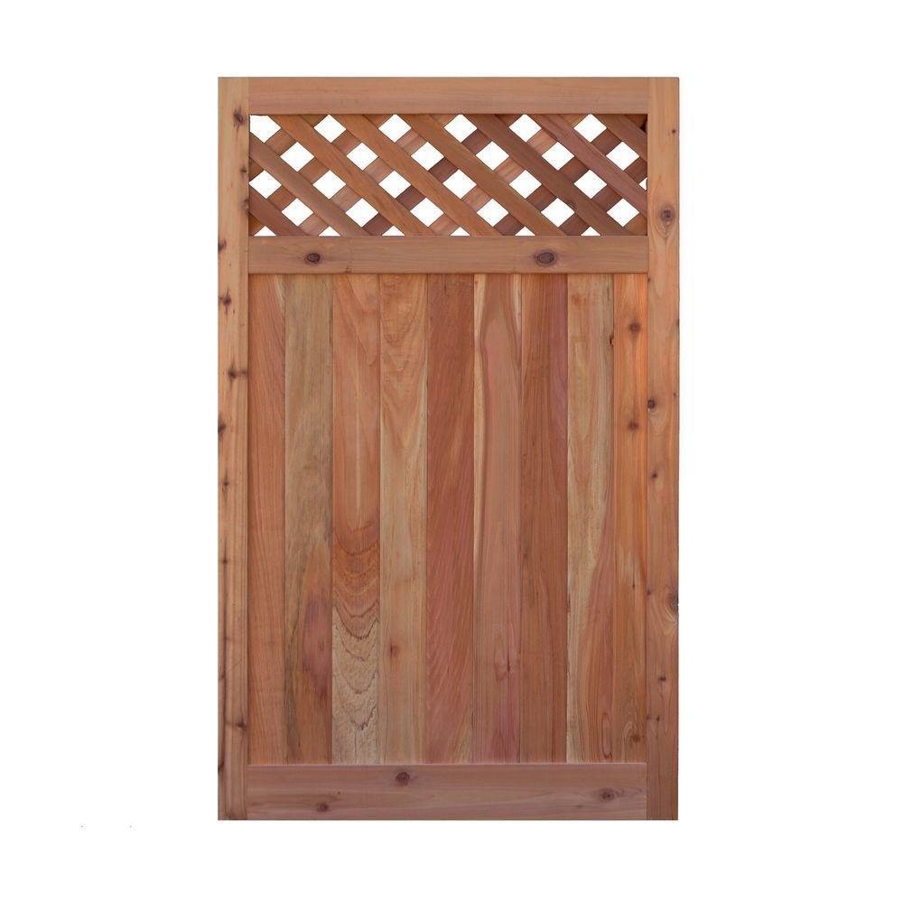 Signature Development 3.5 ft. H W x 6 ft. H H Western Red Cedar Flat Top Diagonal Lattice Fence Gate