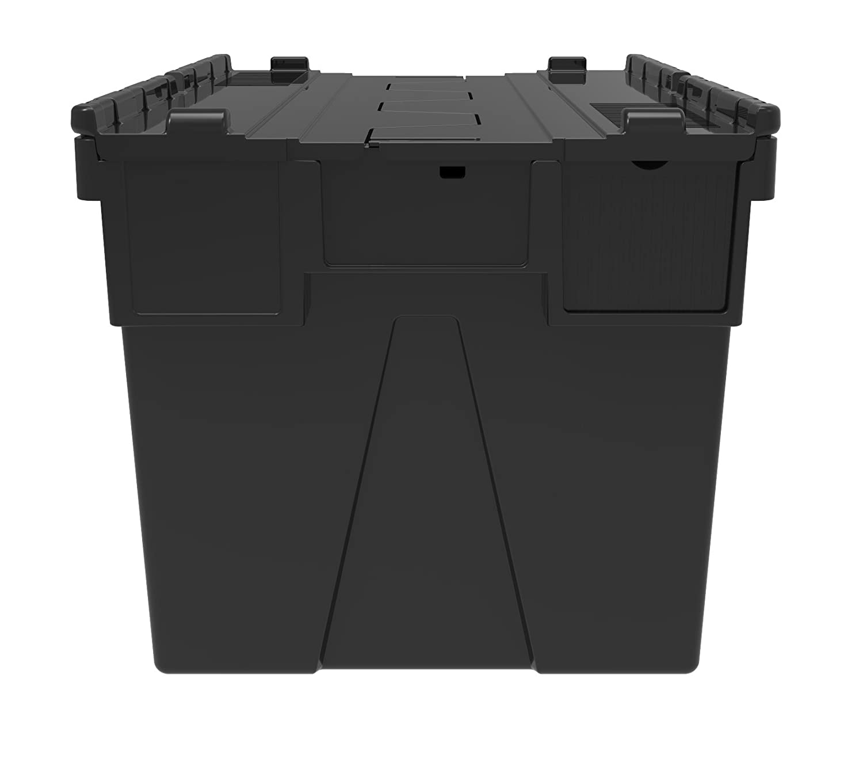 10 x adjunta caja de plástico con tapa 65 litros - reciclado caja de plástico caja de almacenamiento contenedor bolso con Sapphire diseño de tapa - adjunta ...