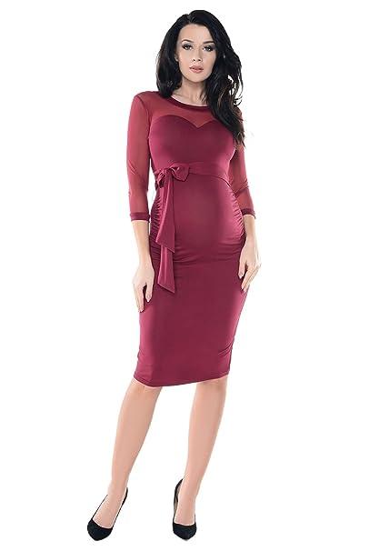 Purpless Maternity Vestido de Embarazo Escote en Forma de Corazón de Malla Transparente D012 (36
