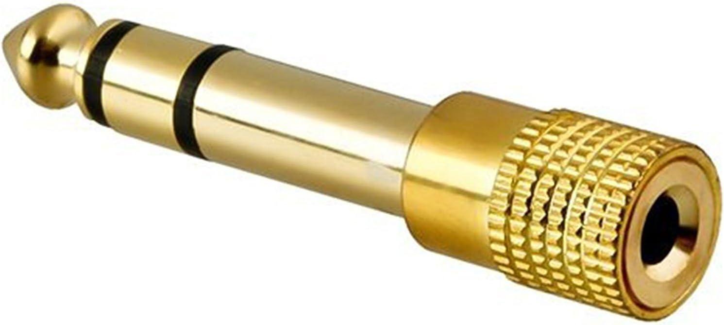Adaptador Clavija de Audio Conversor minijack 3.5 mm a 6.3 Estereo Dorado 2220