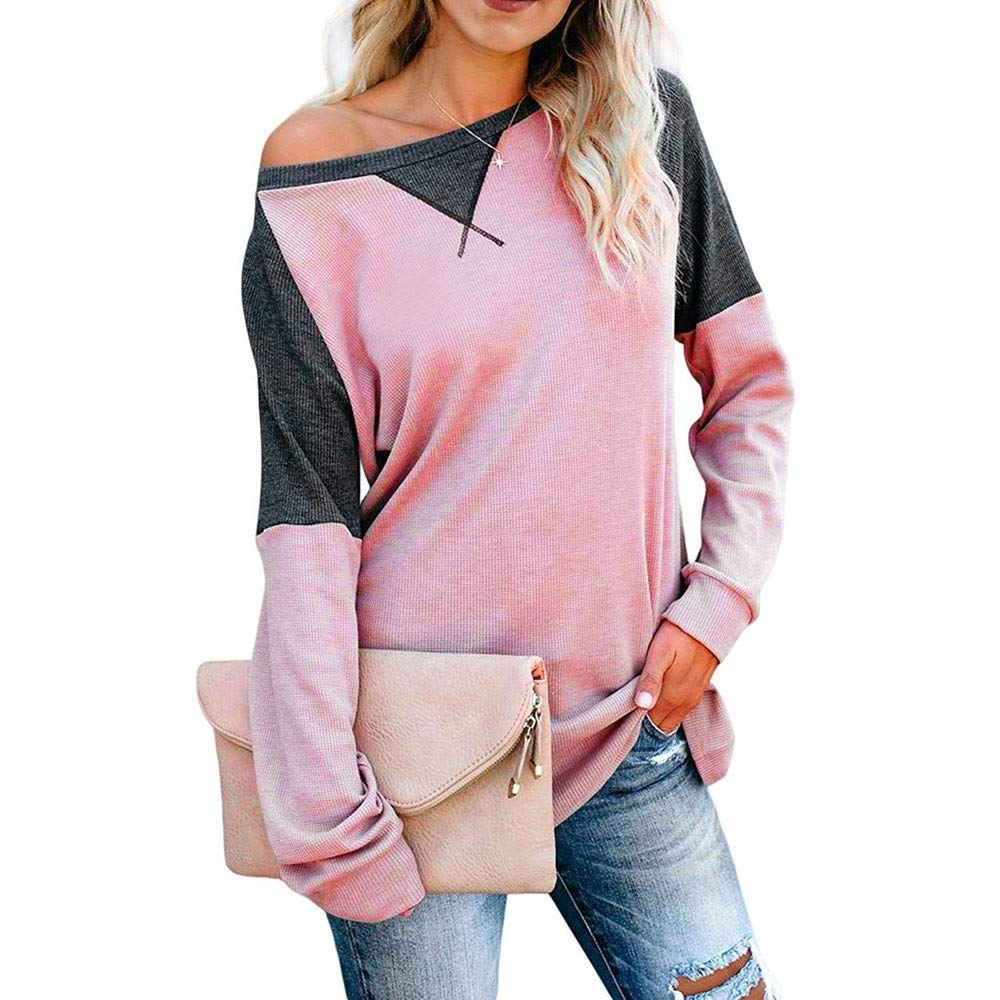 DRAGONHOO Women's Color Block Splicing Round Neck Tunic Tops Casual Long Sleeve Blouse (XL, Pink) by DRAGONHOO
