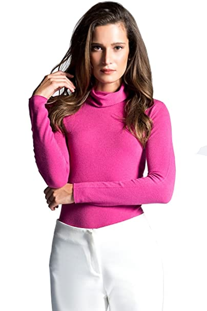 21beca14589d09 LADIES/WOMEN'S STRETCHY ROLL-NECK LONG-SLEEVE COTTON PLAIN TOPS ...