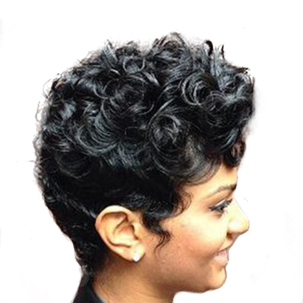 Women Short Curly Brazilian Virgin Human Hair (Natural Spiral Curls, Black) - Human Hair Wigs -Short with Capless Wig for Daily& Wedding Wear 8 Inches by mufly (Image #3)