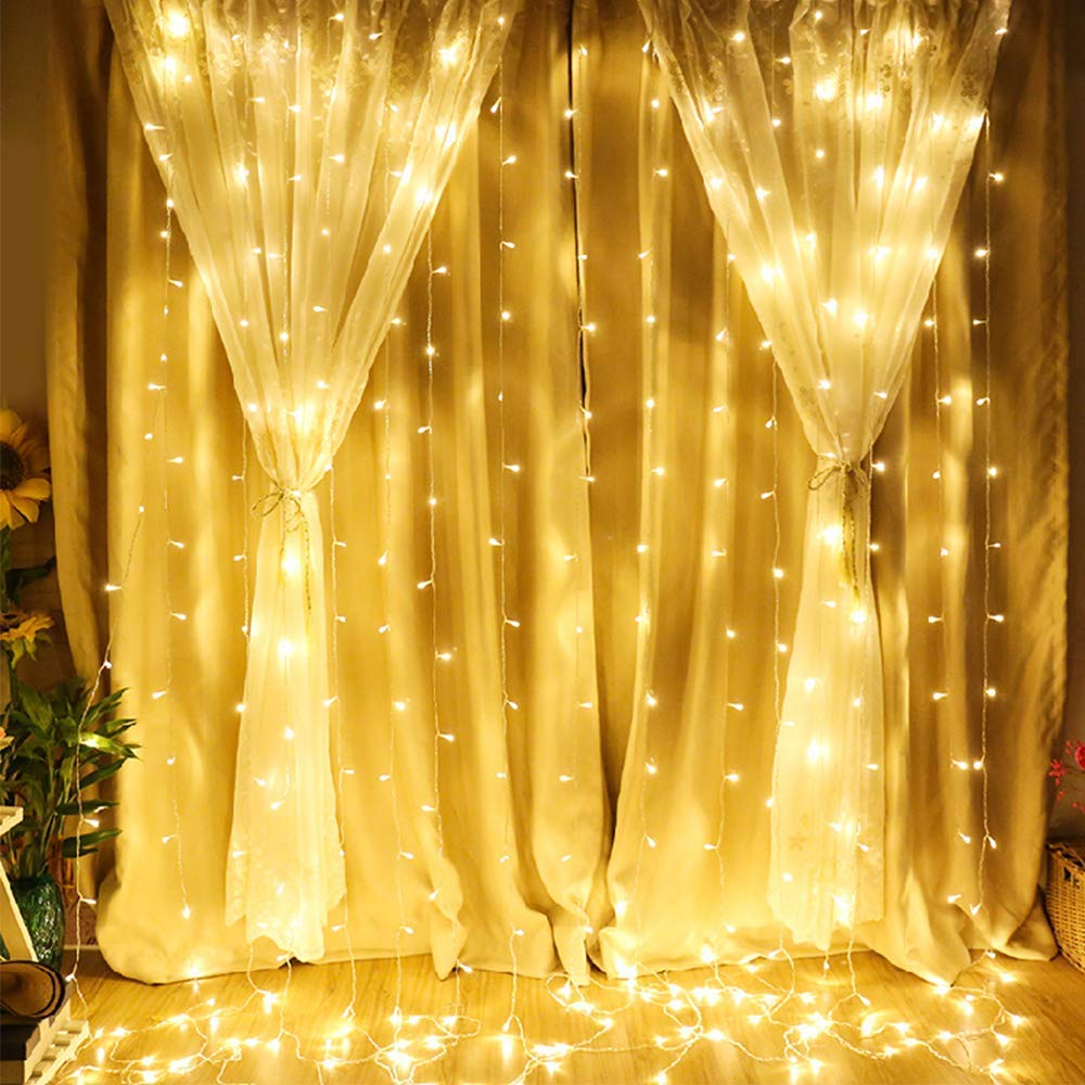 LeMorcy LED Window Curtain Lights, 300 LED 9.8ft*9.8ft 8 Modes Fairy Starry Twinkle Lights LED Backdrop Lights Icicle Lights for Bedroom Wedding Party Patio Lawn Yard Garden Decoration (Warm White) product image
