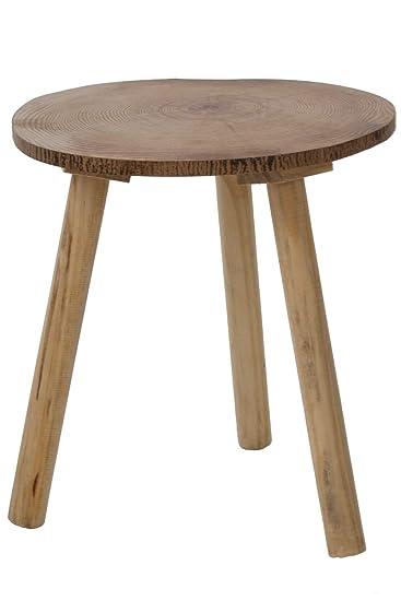 Elbmobel Beistelltisch 34cm Hoch Couchtisch Braun Rund Tisch Aus
