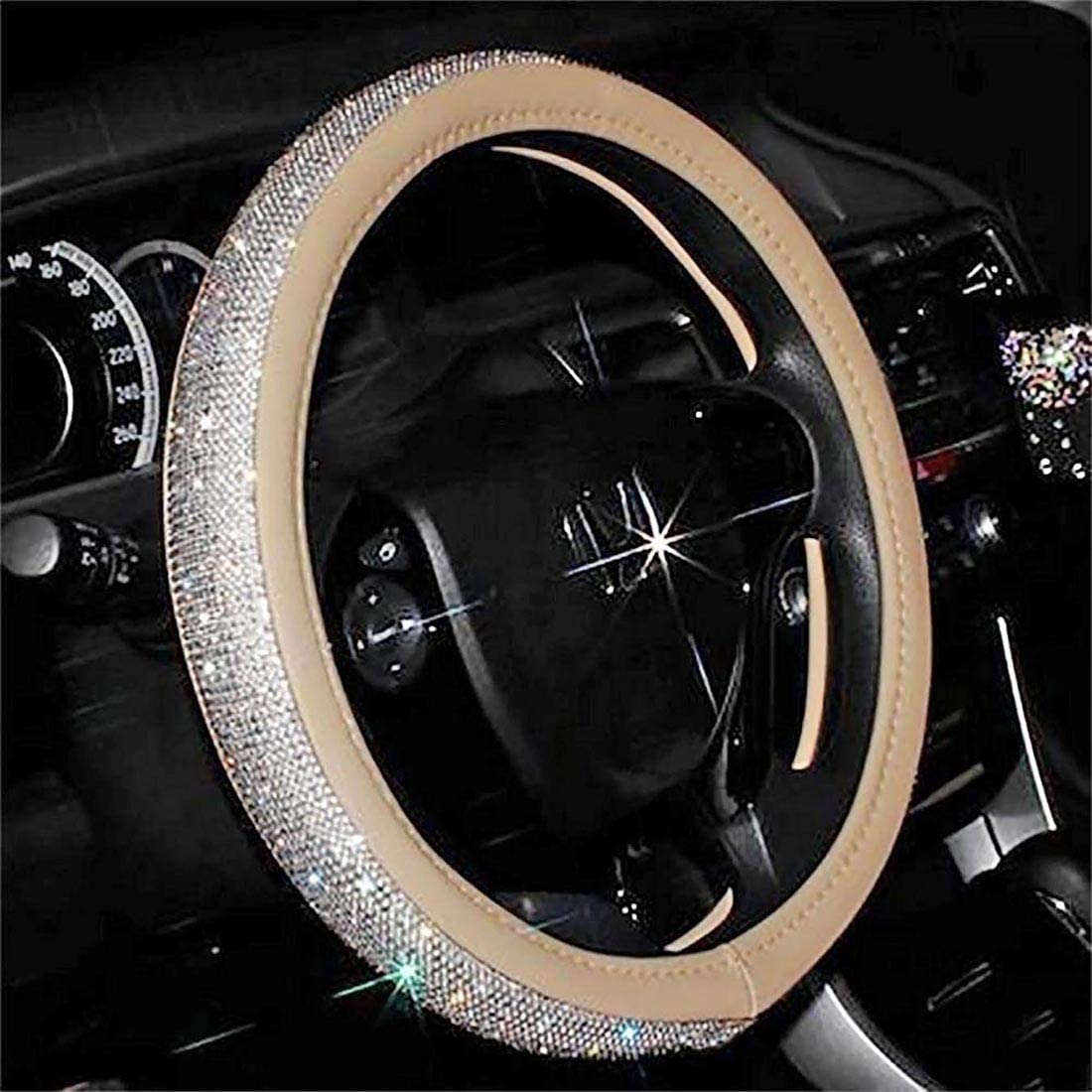 Black Otostar Luxury Litchi Soft Leather Crystal Steering Wheel Cover with 3444pcs Premium Bling Bling Full Diamond 15 inch