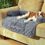 DIBSIES Personalization Station Personalized 36″ Sofa Saver Pet Bed with Bolsters (Charcoal)