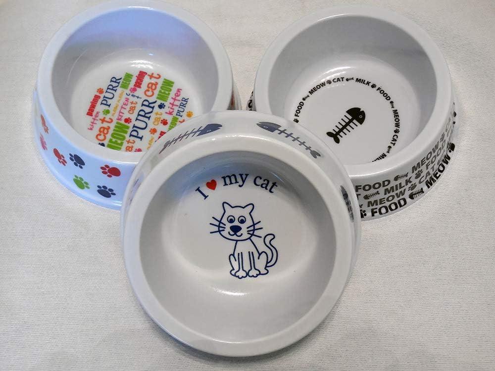 PET Lover - Pet Cat Plastic Bowl. I Love My cat • Set of 3 •