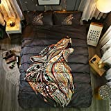 Hihotel 3D Watercolor Animal Print Bedding Sets Bohemian Style Bed Linen Set Duvet Cover Pillowcase Wolf/Horse/Owl African Indian Totem