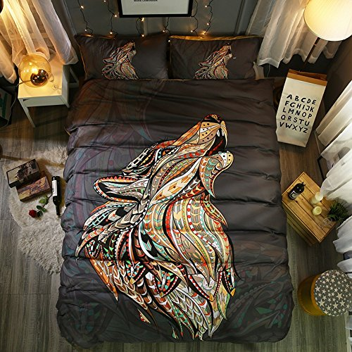 Hihotel 3D Watercolor Animal Print Bedding Sets Bohemian Style Bed Linen Set Duvet Cover Pillowcase Wolf/Horse/Owl African Indian Totem - Wolf Horse