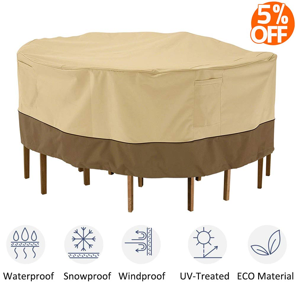 kdgarden Outdoor Round Patio Table and 6 Chairs Set Cover, Heavy Duty Waterproof 600D Large Furniture Set Cover for All Weather Protection, 84 Dia x 30 H, Beige Brown
