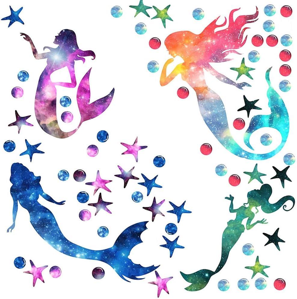 2 Pieces Starry Himmel Mermaid Wand Decals Stickers Pvc Girls Wand Decals mit Mermaid Starfish Ocean Theme Decoration Creative Mermaids Decorative Peel und Stick Wand Decals für Nursery Bathroom