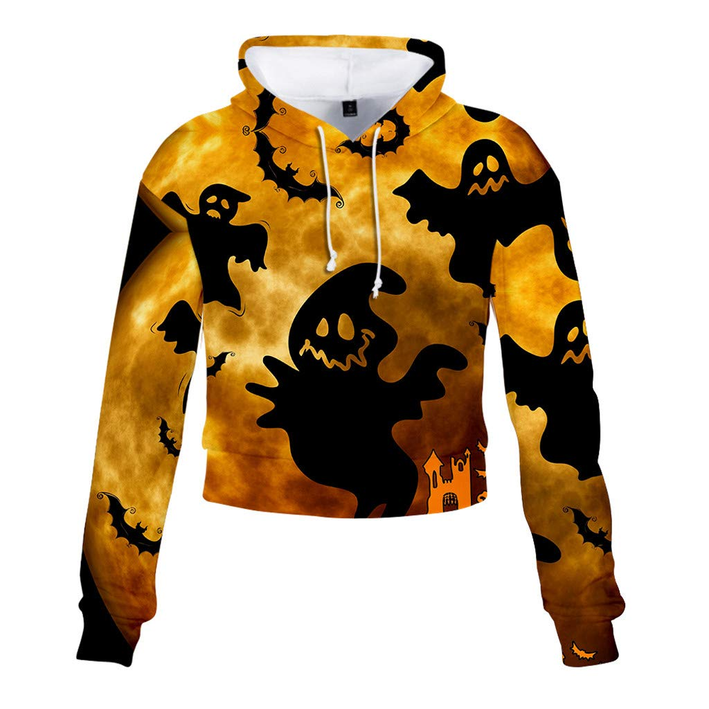 Jialili Womens Hoodie Halloween Ghost 3D Print Party Casual Long Sleeve Hooded Pullover Irregular Top Blouse Sweatshirt(XX-Large,Yellow) by Jialili