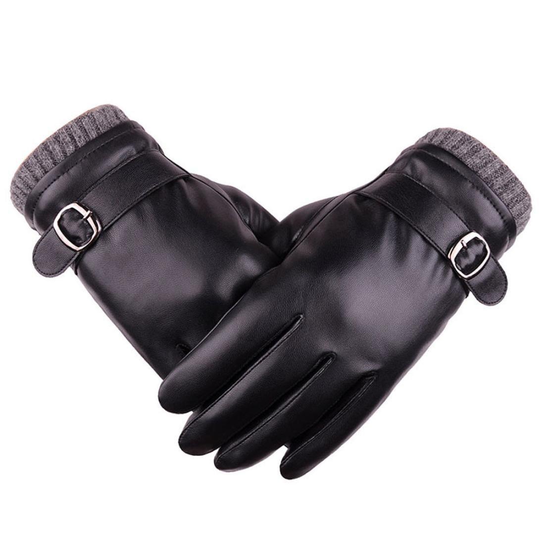 Binmer(TM) Mens Leather Winter Warm Waterproof Windproof Snow Snowboard Ski Gloves