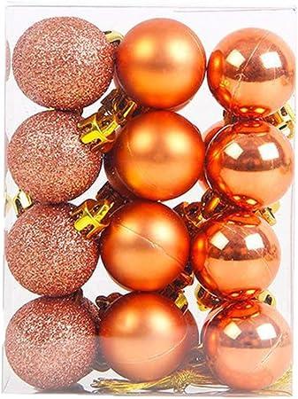 Wicemoon 24pcs Bola Plástica de La Bola de La Navidad de La decoración del árbol de Navidad Naranja: Amazon.es: Hogar