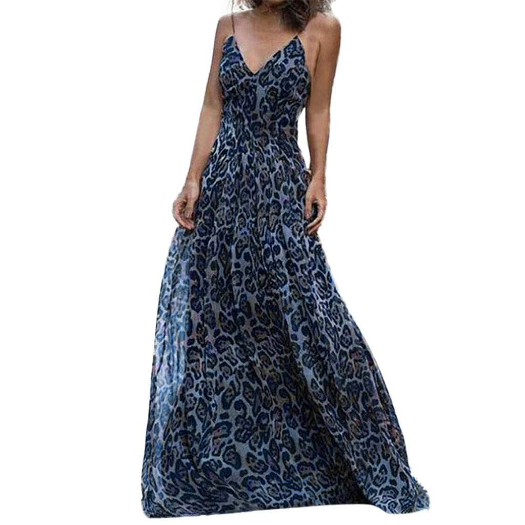 Libermall Women's Dresses Sexy V Neck Leopard Print High Waist Evening Party Long Maxi Dress Beach Sundress Blue